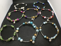 perlas de agua dulce colores al por mayor-10 Colores Perlas de Agua Dulce Pulsera de Perlas de Moda Natural Joyería de Perlas Pulsera Ajustable Encantos Regalo de las mujeres Amor Deseo Joyería de Perlas
