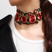 Wholesale statement necklace online - Red Floral Embroidered Choker Necklace Punk Styles Statement Necklaces Women Luxury Jewelry Tattoo Stretch Collar Designer Necklace