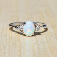 Wholesale set gemstones jewelry - Big Gemstone Opal Ring Fashion Women Solitaire Wedding Ring Jewelry Gift Drop Shipping