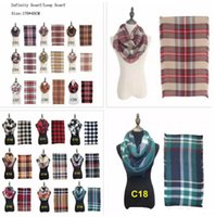 Wholesale infinity scarf resale online - 18 Colors Plaids Infinity Scarves Grid Loop Scarf Blankets Women Tartan Oversized Shawl Lattice Wraps Fringed Cashmere Pashmina