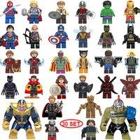 yapı taşları mini figürler toptan satış-YENI süper kahraman Mini Rakamlar 30 TAKıM Thanos Büyük Hulk Wonder woman Deadpool Logan Siyah Panter Doktor Garip Yapı taşları çocu ...