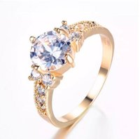 Wholesale wedding rings sets online - New Colors Brand Female Round Zircon Ring Fashion Yellow Gold Plated Jewelry Vintage Wedding Rings For Women New Year Gifts