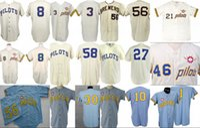 "Wholesale 1969 baseball - Clinton Pilots 1969 Home Jersey 100th Anniversary Joe Schultz ""Rare 1-Year Style"" Seattle Pilots Retro Custom Baseball Jerseys S-XXXL"