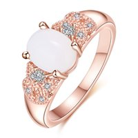 Wholesale new rainbow rose - 2018 Top Fashion New Mexican Wedding Rings 5pcs lot Lovely Oval Rainbow Moonstone Gemstone Rose Gold Ring Wedding Jewelry Gift