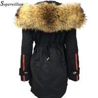 Wholesale green black dog collars for sale - Group buy Large Fur Hooded Parka Women New Winter Jackets Fur Trim Coat Luxury Real Raccoon Furs Ladies Coats In Detachable B2 S18101505