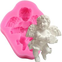 Wholesale Silicone Candle Mold 3d - Angel Boy With Electronic Organ Shape 3D Silicone Cake Mold Soap Candle Molds Baking Fondant Cake Decorating Tools YB200204