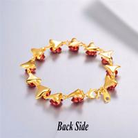 chaînes de poignet en or femme achat en gros de-Bracelet Rouge Rose Fleurs Or Couleur Chaîne De Poignet Charme Cadeau De Noël Pour Les Femmes Mode New Hot Bijoux Bracelets En Gros