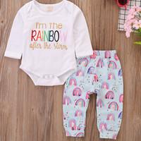 6a8347d87 ropa de bebé unisex baratas al por mayor-Barato ropa de bebé letras arco  iris