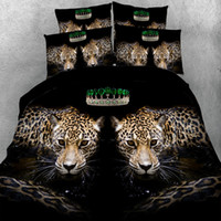 Wholesale leopard comforter full - sexy leopards animals 3D quilt duvet cover black bedding sets kid boys bedspreads single twin full queen king sizes 3 4pcs 500tc