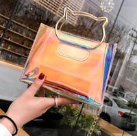 Wholesale clear transparent handbags totes for sale - Women Holographic Clear Bag Transparent PVC Cat Metallic Totes Shoulder Bag Laser hologram Messenger Bags Girls Handbag OOA5558