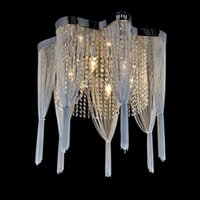 Wholesale Empire Lamps - Chain Chandelier Empire Silver Hanging Suspension Lustres Lamp Crystal Light lamparas de techo home Lighting