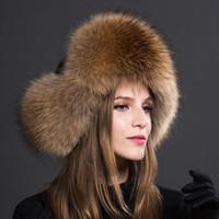 lenços de lã de lã venda por atacado-Mulheres Senhora Pele De Raposa Chapéu Earmuff Thick Fur Ski Cap Inverno Quente Um Tamanho Ajustável Elegante