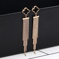 Wholesale clover earrings black - Tassel earrings new Japan and South Korea black clover box chain tassel rose gold earrings girls fashion titanium colored gold earrings