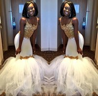ingrosso gonna del corsetto della cinghia-Sexy abiti da festa di promenade sirena africana 2018 abiti da sera bianchi e oro con tulle gonna a sbuffo senza spalline in pizzo abito corsetto