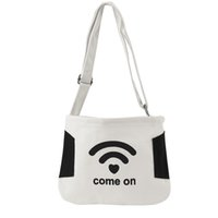 смешные сумочки оптовых-Fashion Casual Style Canvas Shopping Bags Black White Color with Funny Pattern Women Handbags Shoulder Bag