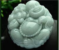 doğal dereceli jadeit yeşim toptan satış-Rtified Derin Yeşil Doğal Sınıf Bir Yeşim jadeite Mutlu Buda Tanrı Aslan Kolye