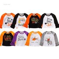 детские футболки оптовых-Детские дети Хэллоуин топы письмо печатных лоскутное футболки тройники детские с длинным рукавом футболки топы Onesies одежда Одежда 8 цветов 10 шт.