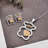 kalpleri yatır toptan satış-Yeni İspanyol marka paslanmaz çelik hollow kalp mektubu ayı kolye küpe kolye takı seti solmaya asla