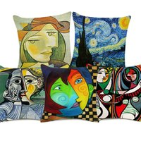 capas de travesseiros de quadros venda por atacado-Pablo Picasso Famosas Pinturas Retrato Capas de Almofada Nordic Retro Casa Decorativa Capa de Almofada De Linho De Algodão Fronha
