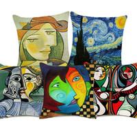 tablo yastık kılıfları toptan satış-Pablo Picasso Ünlü Portre Resimlerinde Yastık Nordic Retro Ev Dekoratif Yastık Kapak Kapakları Keten Pamuk Yastık Kılıfı