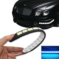 gün drl toptan satış-Yeni Kare 21 cm Bükülebilir led Gündüz farı 100% Su Geçirmez COB Gündüz zaman Işıkları esnek LED Araba DRL Sürüş lamba Epacket Ücretsiz