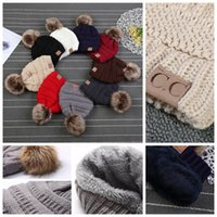Wholesale kids golf caps - Kids CC Beanie Faux Fur Pom Poms For Hats Winter Kid's Knitted Hat Solid Fleec YYA990