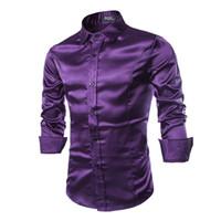 Wholesale Mens Slim Fit Silk Shirts - New Silk Satin Shirt Men Chemise Homme 2017 Fashion Mens Slim Fit Long Sleeve Emulation Silk Button Down Dress Shirts RMQ667