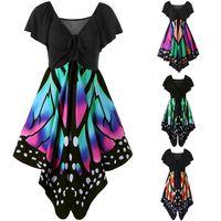 Wholesale colors cocktails dress resale online - Butterfly Print Swing Dress Women Short Sleeve Party Cocktail Casual V Neck Dress Bohemia Summer Dresses Colors OOA4285