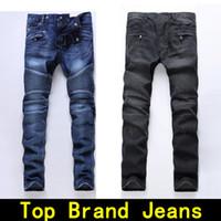 Wholesale 36 holes - Mens jeans designer jeans Motorcycle Moto biker hole sizes 28 42 Slim Men's Fashion Brand Distressed ture pants Hip hop Men biker jeans