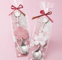 Wholesale Sakura Wedding - Sakura Flower Shape Spoon Silver Stainless Steel Coffee Spoons Easy To Clean Tea Scoop For Wedding Gift 2 6cp B