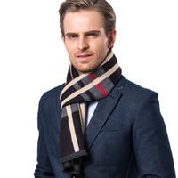 lenços longos venda por atacado-Mens Designer lenço xadrez longa Cashmere Lenços de Inverno de luxo presente Marinha Preto Roxo Vermelho 5 Populares Cores frete grátis