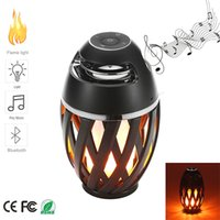 Wholesale Led Dancing Speakers - Led Flame Lights with Bluetooth Speaker Outdoor Portable Led Flame lamp Atmosphere Lamp Stereo Speaker Sound Waterproof Dancing Party