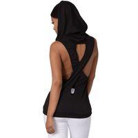 Wholesale hooded vests for women - Fashion Women Tank Tops Hooded Back Gray Cross Hollow Street wear Gym Fitness Sport Sleeveless Vest for Running Training S-XL