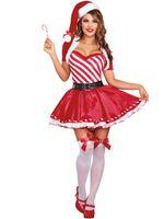ingrosso costumi da costume natale per le donne-Sexy Lady Santa's Candy Cane Costume Donna Natale Dolce Fancy Dress