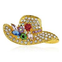 ingrosso badge dei cappelli-3 colori moda cappelli strass pin spilla spille di design distintivo metallo smalto pin broche donne gioielli di lusso decorazione del partito