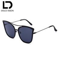 DOLCE VISÃO Dupla Ponte Mulheres Óculos De Sol Espelhado Olho de Gato Super  Fofo Shades Oversize Retro Tendências Eyewear UV400 Oculos Novo 3b09631933