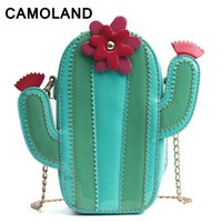 небольшие горячие пакеты оптовых-Cactus Bags for women 2018 Small Funny pack for Girls Lady Summer Fashion Pu Leather Travel bags Shopping Wallet Zipper Hot Sale