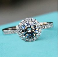 ingrosso grandi anelli-Anelli in argento sterling 925 Anello in argento massiccio Sona CZ Big Diamond Fedi di fidanzamento per le donne