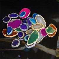 çakıl rengi toptan satış-Doğal Rüzgar Çan Brezilyalı Agates Geode Druzy Gümüş Rengi Kenarlı Akik Dilim Kolye Aksesuar Mix Renk Ile 6 5xp3 jj