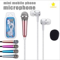 Wholesale ipad mini package - 3.5mm Mini Microphone with Earphone Earbuds Cuffie Portable Stereo for Singing Karaoke PC iPad Smartphone with Retail Package