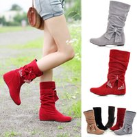 Venda Por Atacado Big Size Womens Mid-Calf Boots Anti-Slip Bow-Knot Bowtie Slouch Pull On Sweet Ankle Botas Low Wedge Heels Comfort Shoe