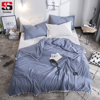 dessus de lit gris bleu achat en gros de-Sookie Fashion Summer Quilt Solid Color Air Condition Couette avec petits Pompons blancs Thin Throw Blanket Blue Grey Literie