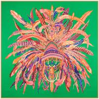 пернатый шарф оптовых-Этническое перо зеленый Большой Шелковый квадратный шарф печати для женщин новый индийский Шаль Фулард Femme Echarpe
