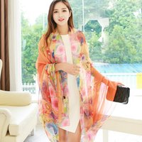 Wholesale soft scarves for sale online - Creative Women Peacock Silk Scarf Air Conditioning Oversize Printing Comfortable Soft Scarves For Decoration Hot Sale yt ff