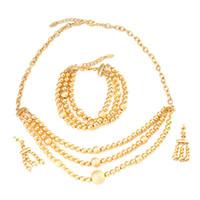 pulseras de oro de 18 quilates al por mayor-Collar de aretes con cuentas africanas, juego de 18 quilates, chapado en oro, bola, etíope, joyería de la boda de las mujeres