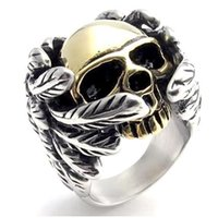 Wholesale Skull Wings Rings - 2017 New Cool Style Golden Silver Skull Ring With Wings 316L Stainless Steel Mens Fashion Motor Biker Skull ring