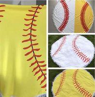 Wholesale plain blankets resale online - diameter cm Baseball Softball Tapestry Beach Towel Round blanket with Tassel Beach Throw round Sports Yoga Mat