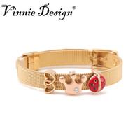 conjuntos de diapositivas de joyería al por mayor-Vinnie Design Jewelry 8mm pulsera de malla de oro de acero inoxidable con 3pcs encantos de la diapositiva