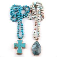 handgefertigte steinkreuze großhandel-Mode Natürliche Semi Precious Blue Empire Stein mit Kreuz Charme Tropfen Anhänger Handgemachte Halskette Frauen Schmuck