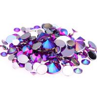 akrilik elmas alaşımı 5mm toptan satış-4mm 5mm 6mm 10mm Ve Karışık Boyutları Mor AB Akrilik Rhinestones Çivi Tasarım Kristal 3D Nail Art Glitter Süslemeleri